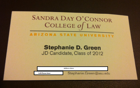 Business Cards for Law Students | The Undeniable Ruth