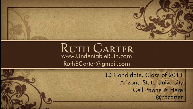 Business cards for law students the undeniable ruth good business card reheart Choice Image