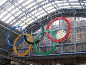 Olympic Rings at St Pancras Station, London by Jon Dickins, Ruth Carter