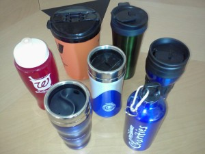The bottles &amp; travel mugs that were cluttering the cabinet.