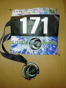 My Medal from The Night Run - It Glows in the Dark