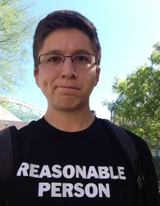 Hal Cohen rocking his Reasonable Person shirt during a study break
