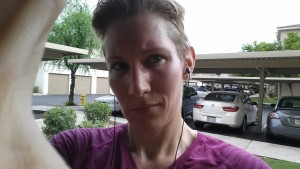 This is how I looked after running 4 miles. I was covered with a film of sweat.