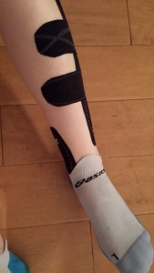My Leg in KT Tape - I always prefer Black