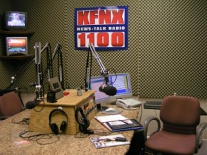 KFNX Talk Studio - photo courtesy of KFNX (Sorry, I forgot to talk a selfie)