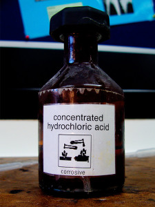 12 Molar Hydrochloric Acid by maticulous from Flickr (Creative Commons License)