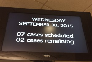 Screen in the Jury Duty Room at 2pm