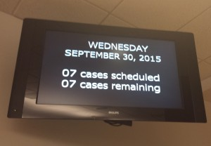 Screen in the Jury Duty Room at 9am