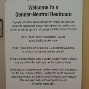 Gender-neutral bathroom sign by Bryan Alexander from Flickr (Creative Commons License)