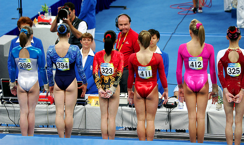 This is how Gymnasts' Hair Should Look - Women line up for gymnastics by bryangeek from Flickr