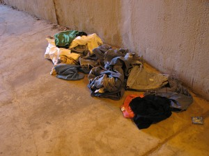 There were a number of remnants of homeless camps in the tunnels. No idea why these clothes were abandoned by Matt Mechtley from Flickr (Creative Commons License)