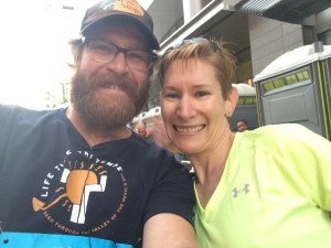 AJ & Ruth at the Starting Line for the Rock 'n' Roll Arizona Marathon 2015 (Photo by AJ Grucky, used with permission)