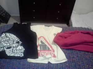 This is how my bed looks when I go to sleep - 2 fresh shirts ready to be switched out for sweaty ones