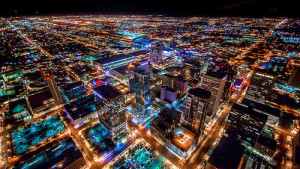 Phoenix Arizona Downtown Night Aerial Photo from Helicopter by Jerry Ferguson from Flickr (Creative Commons License)